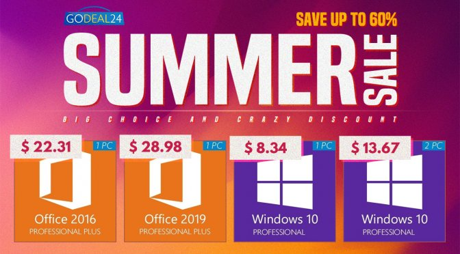 Save up to 60% with GoDeal24's Summer Sale, Windows 10 at only $6.84