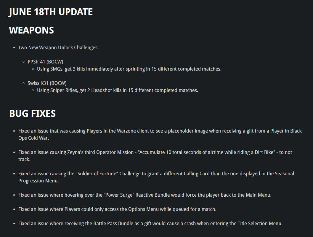 Call of Duty Warzone Season Four June 18th Patch Release Notes