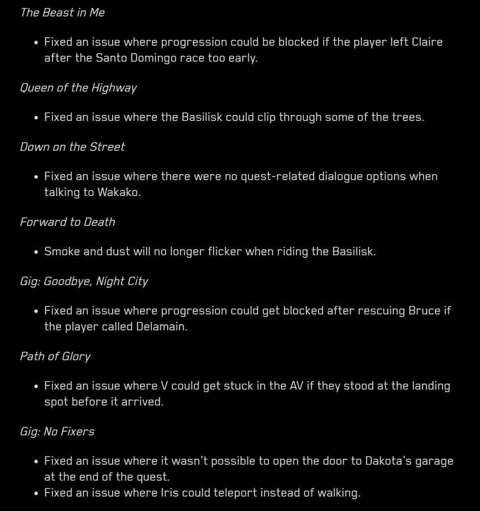 Cyberpunk 2077 Patch 1.23 Release Notes-2