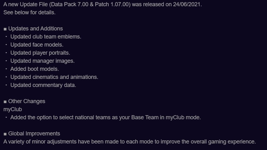 pes 2021 data pack 7.0 release notes