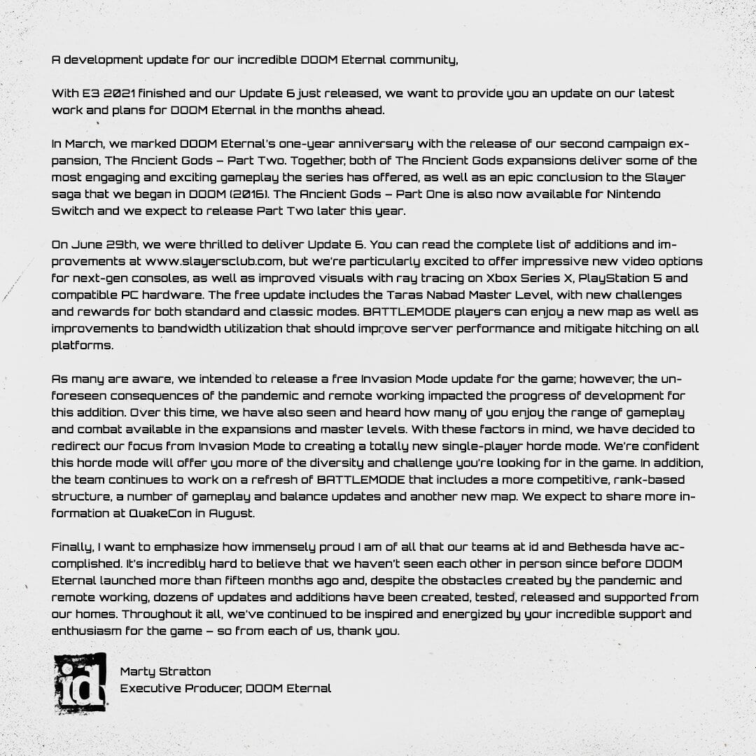 Doom Eternal single-player horde mode