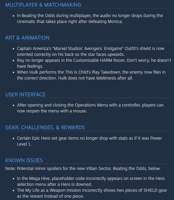 Marvel's Avengers Patch 1.8.2 Release Notes-2