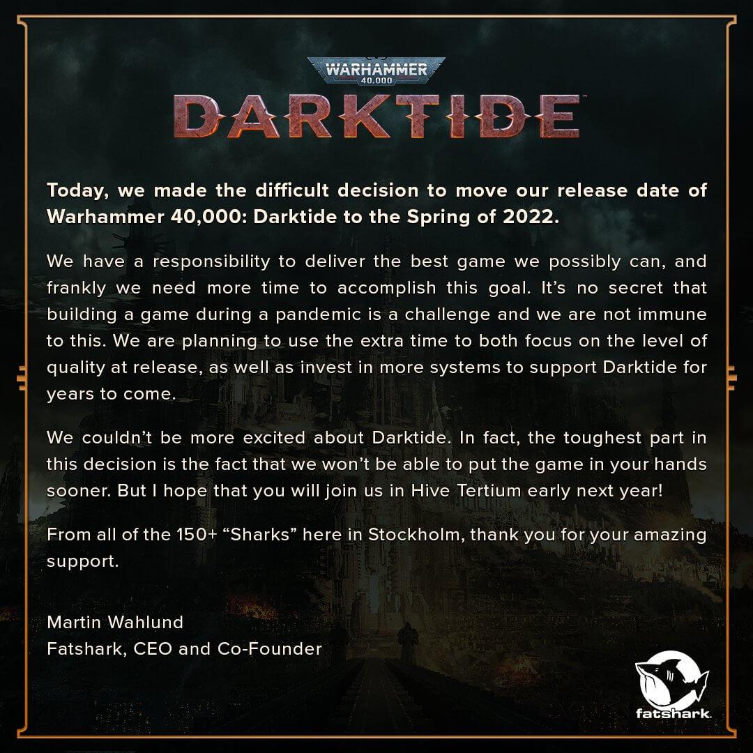 Warhammer 40K Darktide delay