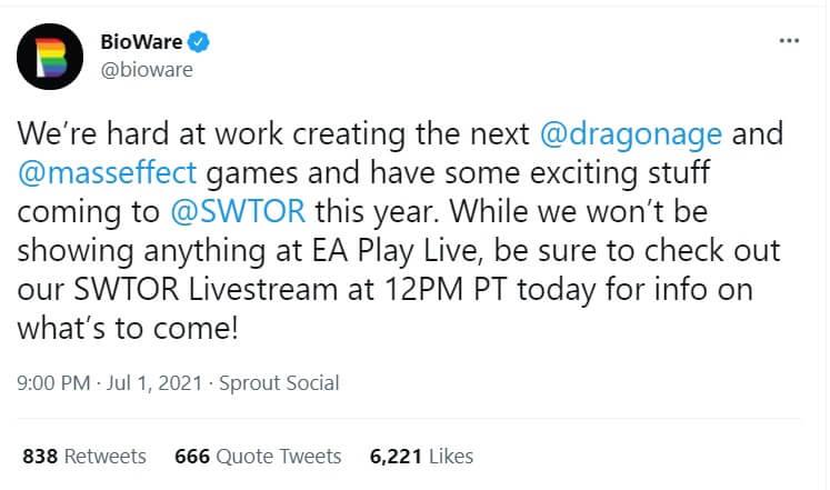 no Dragon Age and Mass Effect 4 at EA Play