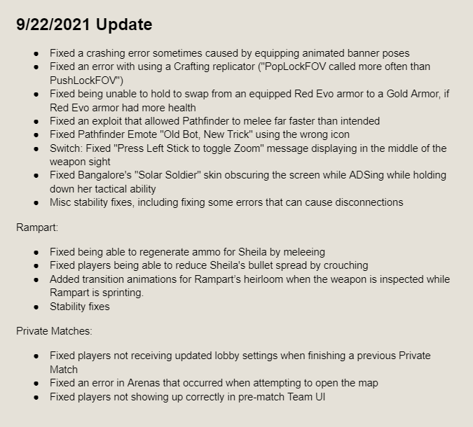 APEX Legends September 22nd Patch Release Notes
