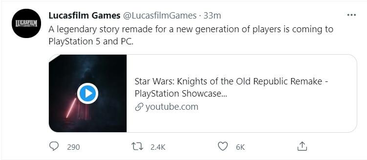 star wars kotor remake PC confirmation