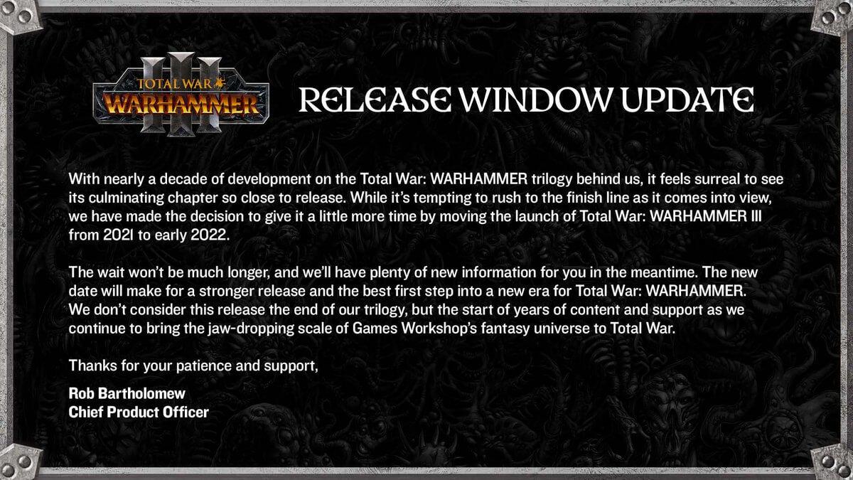 total war warhammer 3 release date window