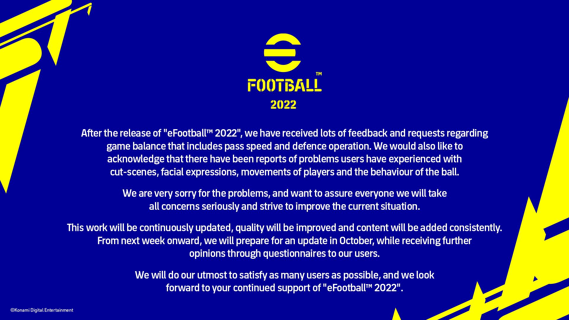 efootball 2022 konami statement